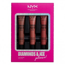 NYX Professional Makeup Diamonds & Ice, Please Huulepulga Komplekt Powder Puff